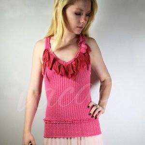 Christian Lacroix Pink Ruffled Top